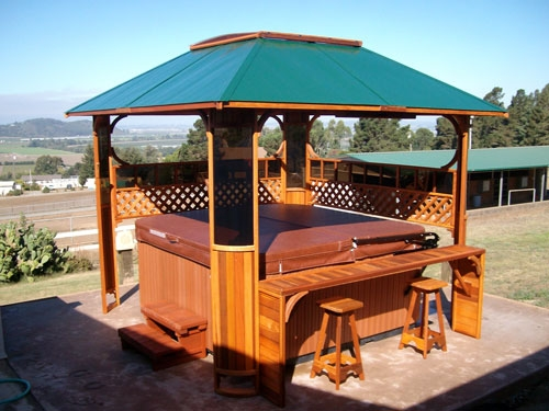Garden lattice spa enclosure with entertain center for Cal spa gazebo