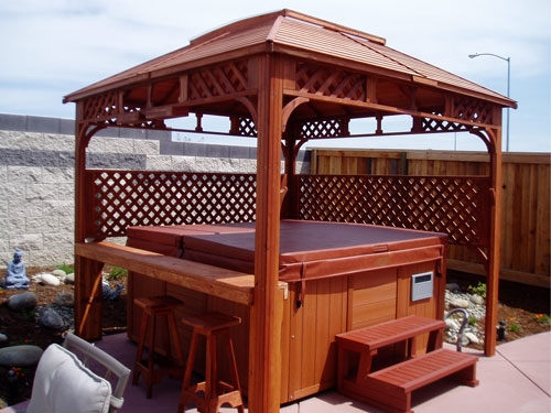 Rc spa entertainer with metal roof skylight sacramento for Cal spa gazebo